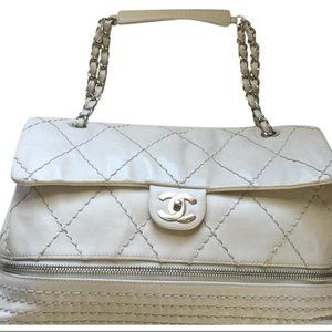 Chanel Classic Ivory Flap Leather with Zip Bottom